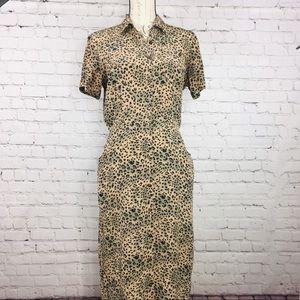 Robbie Bee 100% Silk Cheetah Print Dress 6